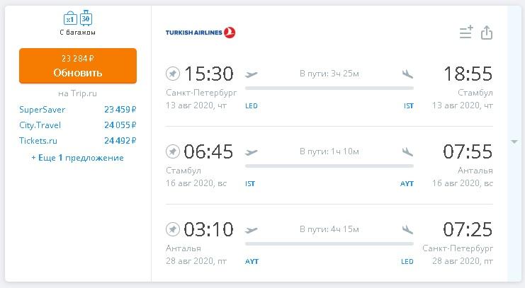 Сложные билеты из Питера в Стамбул и Анталию